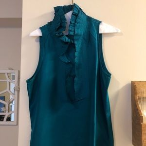 Jcrew ruffle neck silk shirt teal